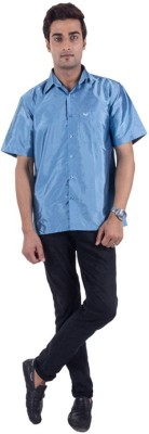 Warrior Men's Solid Casual Blue Shirt