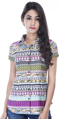 Peppermint Blues Women's Argyle Casual Multicolor Shirt