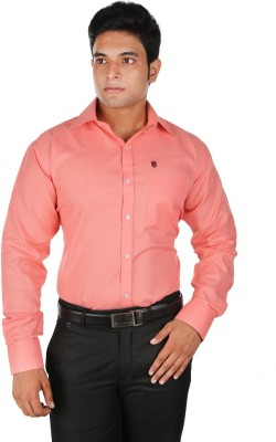 Relish Men's Solid Formal Pink Shirt