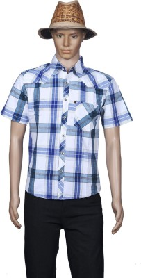 M Touch Men,s Checkered Casual Blue Shirt