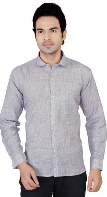 X-Secret Men's Self Design Formal Grey Shirt