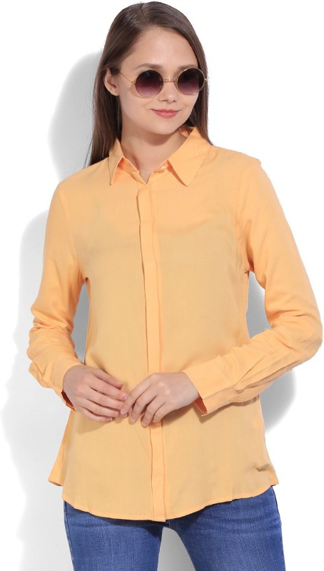 United Colors of Benetton Women's Solid Casual Orange Shirt