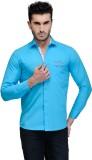 Nexq Men's Solid Casual Light Blue Shirt