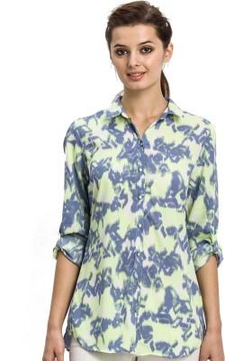 Bkind Women's Printed Casual Blue Shirt