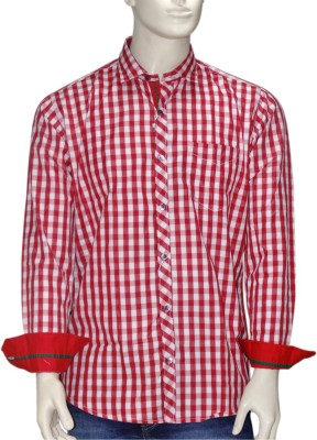 Exin fashion Men's Checkered Casual Red, White Shirt