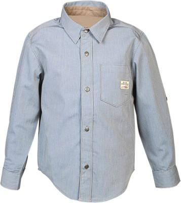 Blue Giraffe Boy's Self Design Casual Blue Shirt