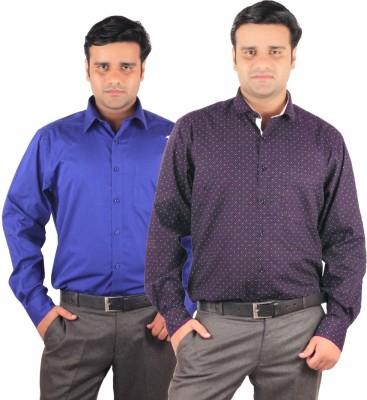 RIPARV Men's Printed, Solid Formal Blue Shirt