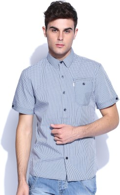 883 Police Men's Checkered Casual Blue Shirt
