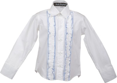 Lil Poppets Boy's Solid Casual White Shirt