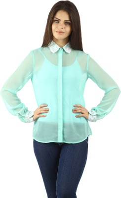 Uptown Galeria Women's Solid Casual Green Shirt