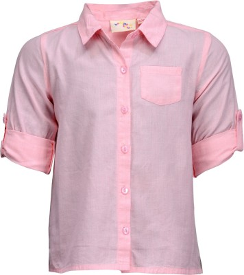 Budding Bees Baby Girl's Solid Casual Pink Shirt