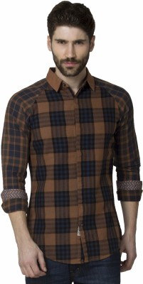 XARO Men's Checkered Casual Brown Shirt