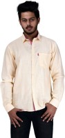 Spex Jet Formal Shirts (Men's) - Spex Jet Men's Solid Formal Linen Yellow Shirt