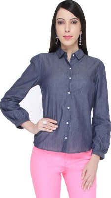 Bedazzle Women's Solid Casual Blue Shirt