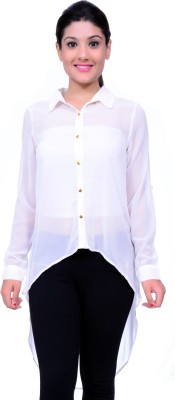 Lamora Women's Solid Casual White Shirt
