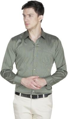 Asher Men's Striped Formal Yellow, Blue Shirt
