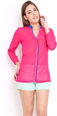 Trend Arrest Women's Solid Casual Pink Shirt