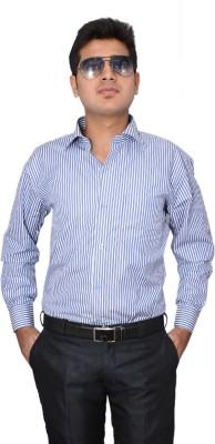 Indocity Men's Striped Formal Blue, White Shirt
