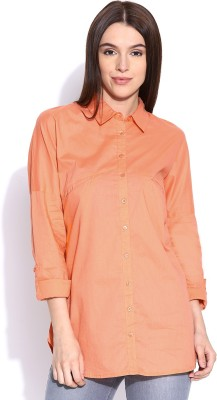 Silly People Women's Solid Casual Orange Shirt