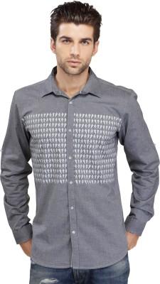 SEVEN STITCHES Men's Graphic Print Casual Grey Shirt