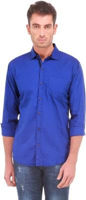 Sleek Line Men's Printed Casual Blue Shirt