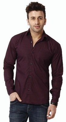 Alian Men's Solid Casual Purple Shirt