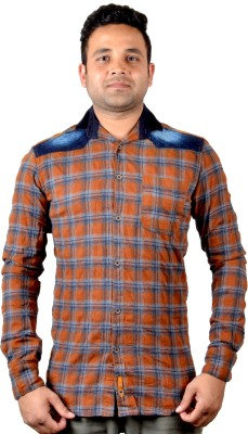 KEF Men's Checkered Casual Brown Shirt