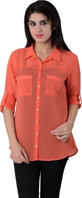 House of Tantrums Women's Solid Casual Orange Shirt