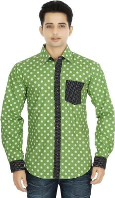 Binnote Men's Printed Casual Green Shirt