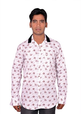 Royal Fashion Men's Floral Print Festive White Shirt