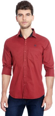Flyjohn Men's Solid Casual Red Shirt