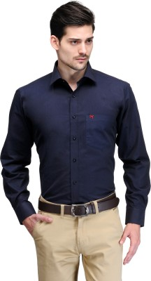 Club Morocco Men's Solid Formal Dark Blue Shirt