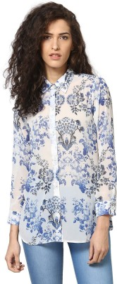 Love From India Women's Floral Print Casual Blue Shirt
