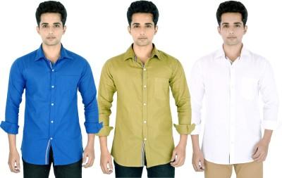 Yuva Men's Solid Casual Linen Blue, Beige, White Shirt