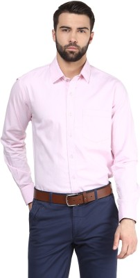 FUNK Men's Solid Casual Pink Shirt