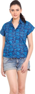 Trend Arrest Women's Printed Casual Blue Shirt