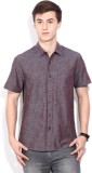 Lee Men's Self Design Casual Maroon Shir...