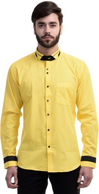 Future Plus Men's Self Design Casual Linen Yellow Shirt
