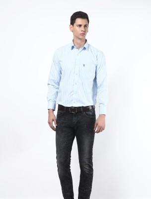 Remo Men's Striped Formal Light Blue Shirt