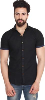 yellow Tree Men's Solid Casual Linen Black Shirt