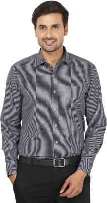 John Players Men's Striped Formal Black, Grey Shirt