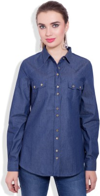 Pear Blossom Women's Solid Casual Dark Blue, Blue Shirt