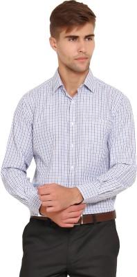 I-Voc Men's Checkered Formal White, Blue Shirt