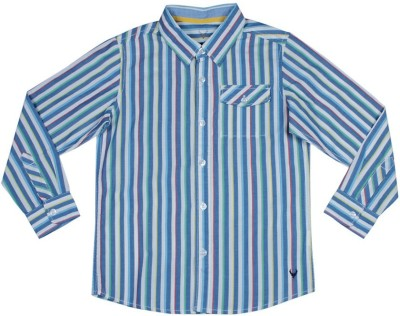 Allen Solly Men's Striped Casual Blue Shirt