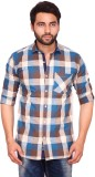 RKF Men's Checkered Casual Blue Shirt