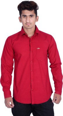 VAPE Men's Solid Casual Maroon Shirt