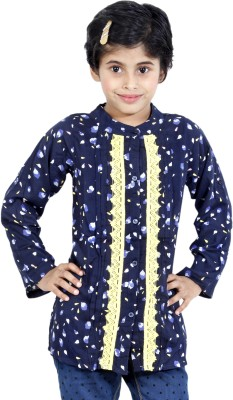 MagPie Girl's Self Design Formal Multicolor Shirt