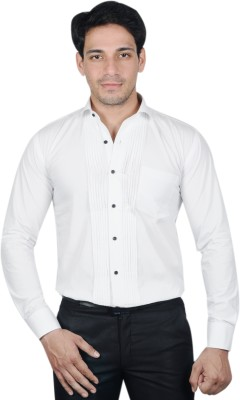 The Mods Men's Solid Formal White Shirt
