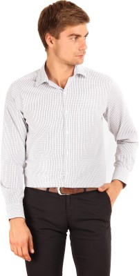 I-Voc Men's Checkered Formal White, Black Shirt
