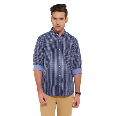 Urban Nomad By INMARK Men's Checkered Casual Dark Blue Shirt